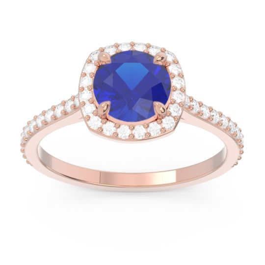 Halo Pave Nakin Blue Sapphire Ring with Diamond in 14K Rose Gold