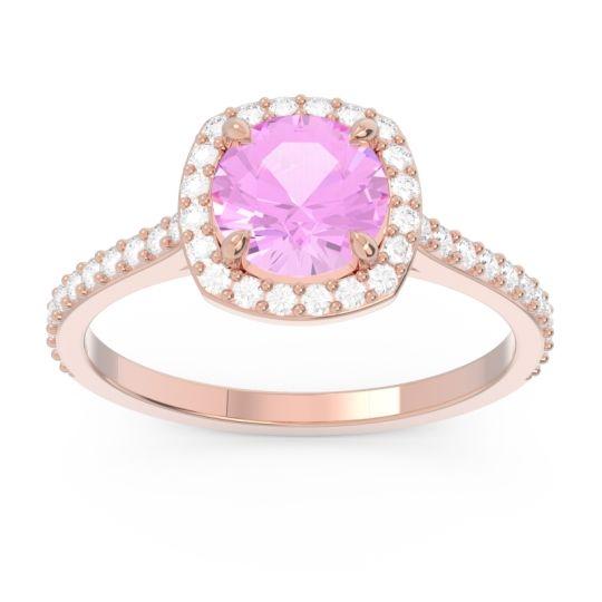 Pink Tourmaline Halo Pave Nakin Ring with Diamond in 14K Rose Gold