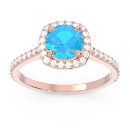 Swiss Blue Topaz Halo Pave Nakin Ring with Diamond in 14K Rose Gold