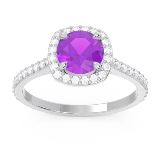 Halo Pave Nakin Amethyst Ring with Diamond in 14k White Gold