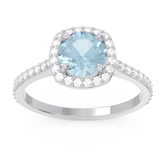 Aquamarine Halo Pave Nakin Ring with Diamond in Platinum