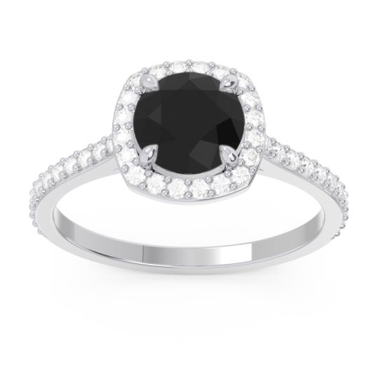 Halo Pave Nakin Black Onyx Ring with Diamond in 14k White Gold
