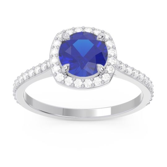 Blue Sapphire Halo Pave Nakin Ring with Diamond in 14k White Gold