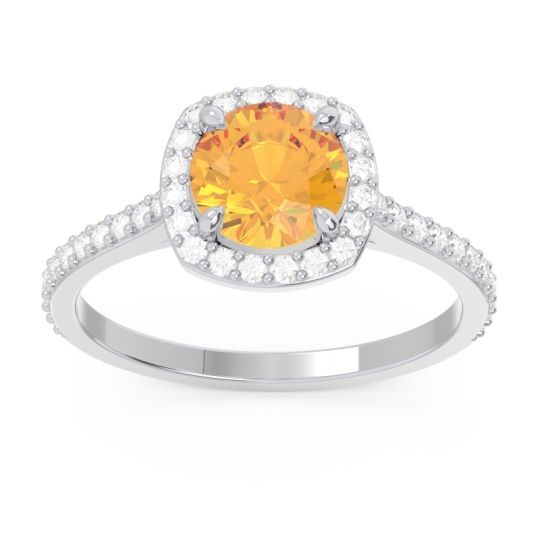 Halo Pave Nakin Citrine Ring with Diamond in 14k White Gold
