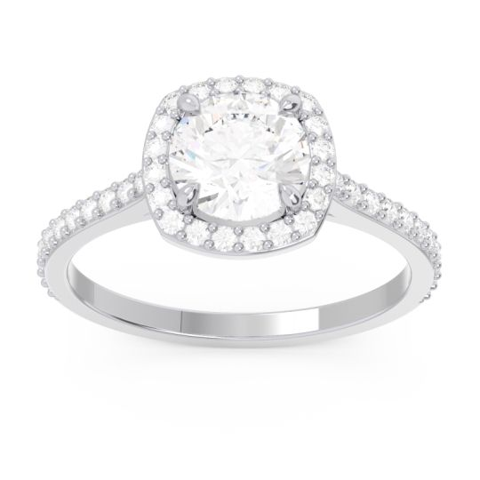 Halo Pave Nakin Diamond Ring in 14k White Gold