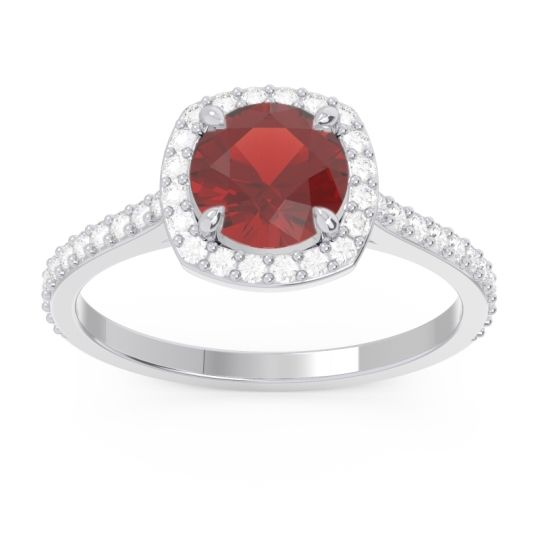 Halo Pave Nakin Garnet Ring with Diamond in 14k White Gold