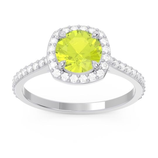 Halo Pave Nakin Peridot Ring with Diamond in 14k White Gold