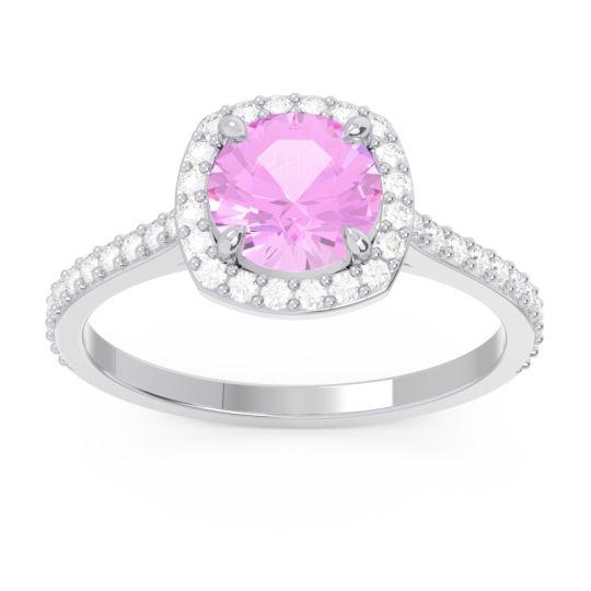Pink Tourmaline Halo Pave Nakin Ring with Diamond in Palladium