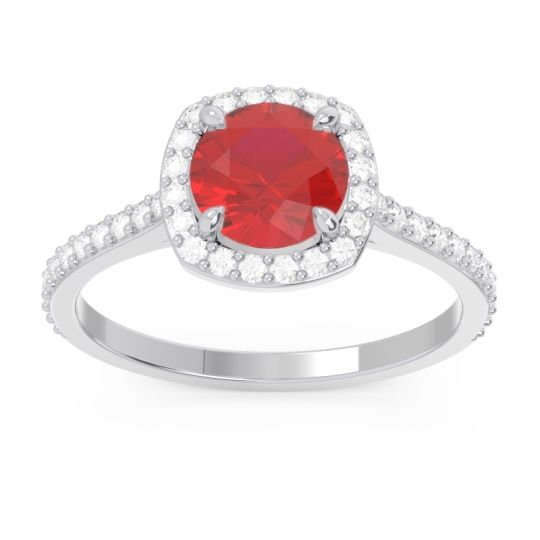 Halo Pave Nakin Ruby Ring with Diamond in 14k White Gold