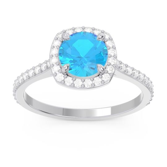 Swiss Blue Topaz Halo Pave Nakin Ring with Diamond in 18k White Gold