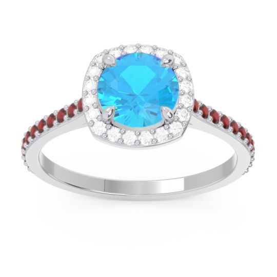 Swiss Blue Topaz Halo Pave Nakin Ring with Diamond and Garnet in 18k White Gold