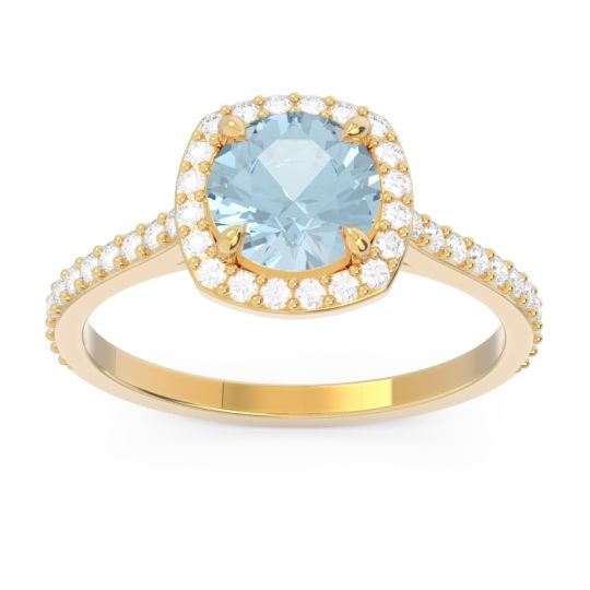 Aquamarine Halo Pave Nakin Ring with Diamond in 14k Yellow Gold
