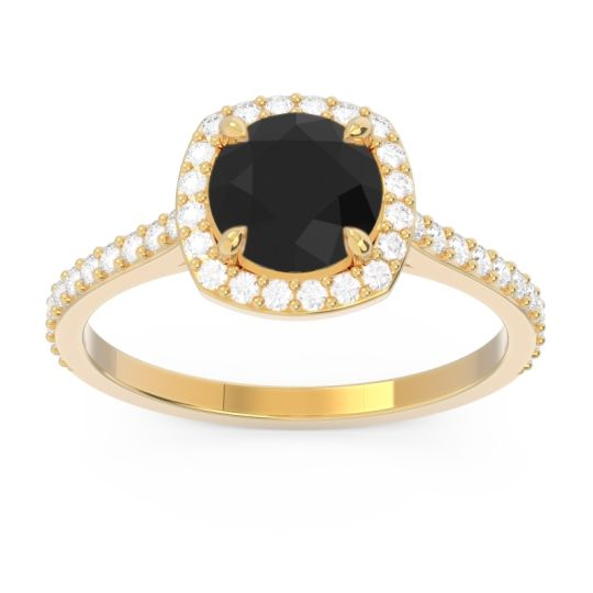 Black Onyx Halo Pave Nakin Ring with Diamond in 18k Yellow Gold