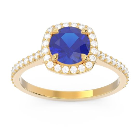 Halo Pave Nakin Blue Sapphire Ring with Diamond in 14k Yellow Gold