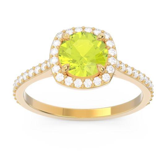 Peridot Halo Pave Nakin Ring with Diamond in 18k Yellow Gold