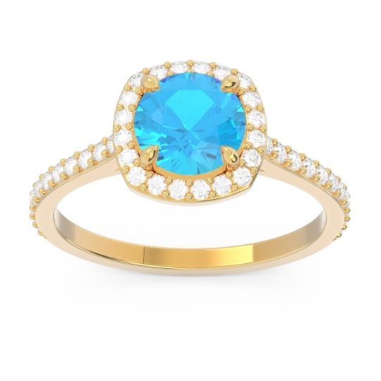 Swiss Blue Topaz Halo Pave Nakin Ring with Diamond in 14k Yellow Gold