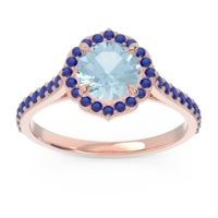 Aquamarine Halo Pave Pulla Ring with Blue Sapphire in 18K Rose Gold