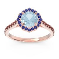 Aquamarine Halo Pave Pulla Ring with Blue Sapphire and Garnet in 14K Rose Gold