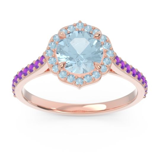 Aquamarine Halo Pave Pulla Ring with Amethyst in 14K Rose Gold