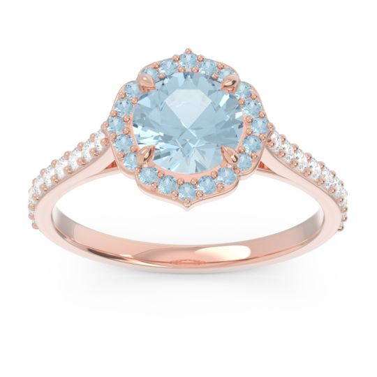 Aquamarine Halo Pave Pulla Ring with Diamond in 18K Rose Gold
