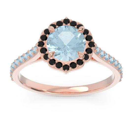 Aquamarine Halo Pave Pulla Ring with Black Onyx in 14K Rose Gold