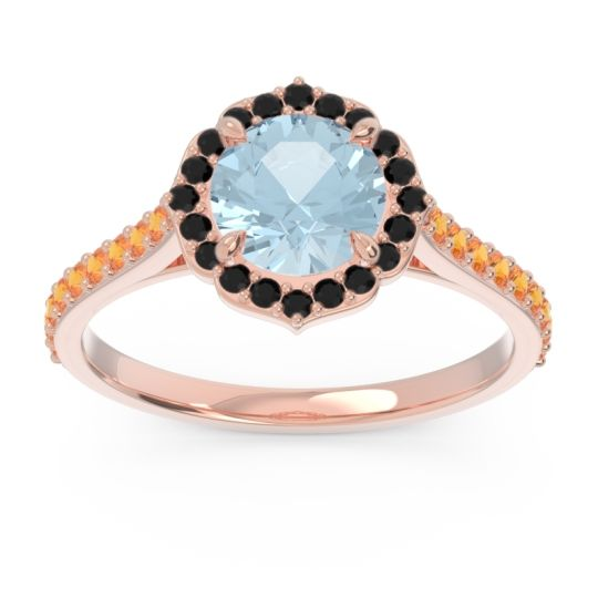 Aquamarine Halo Pave Pulla Ring with Black Onyx and Citrine in 18K Rose Gold