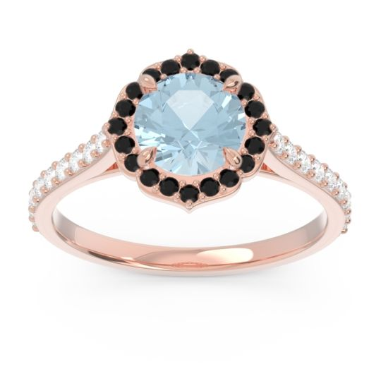Aquamarine Halo Pave Pulla Ring with Black Onyx and Diamond in 18K Rose Gold