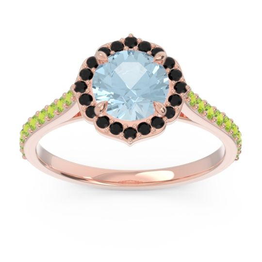 Halo Pave Pulla Aquamarine Ring with Black Onyx and Peridot in 18K Rose Gold