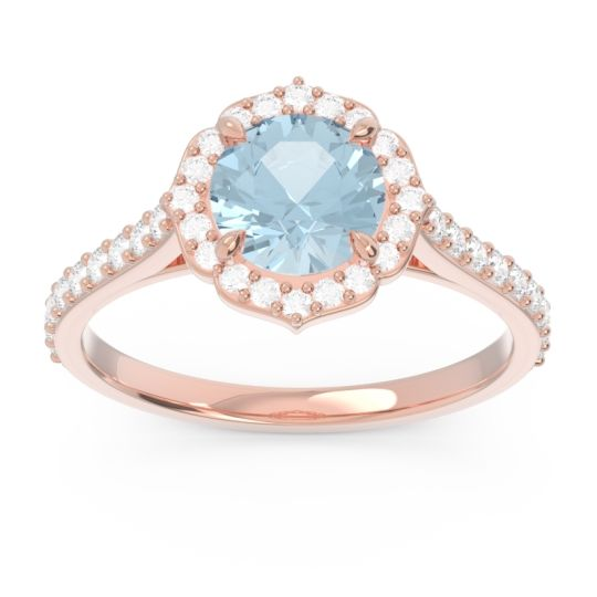 Aquamarine Halo Pave Pulla Ring with Diamond in 14K Rose Gold