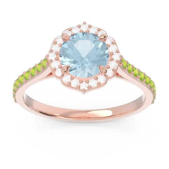 Aquamarine Halo Pave Pulla Ring with Diamond and Peridot in 14K Rose Gold
