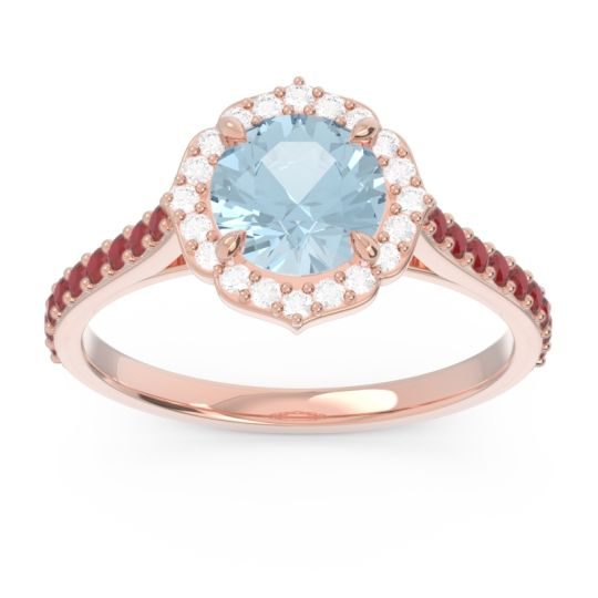 Aquamarine Halo Pave Pulla Ring with Diamond and Ruby in 14K Rose Gold