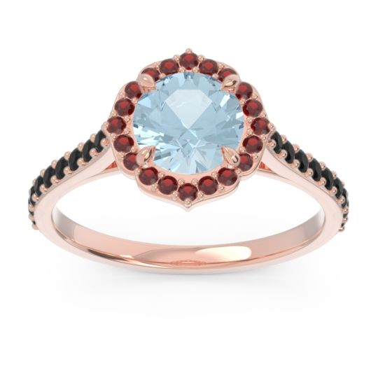 Aquamarine Halo Pave Pulla Ring with Garnet and Black Onyx in 14K Rose Gold