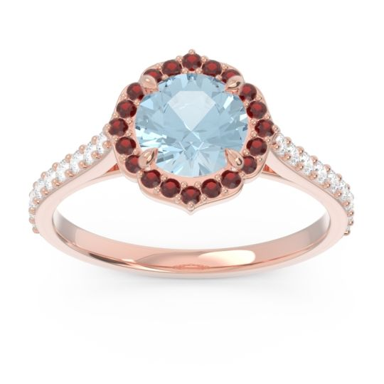 Aquamarine Halo Pave Pulla Ring with Garnet and Diamond in 14K Rose Gold