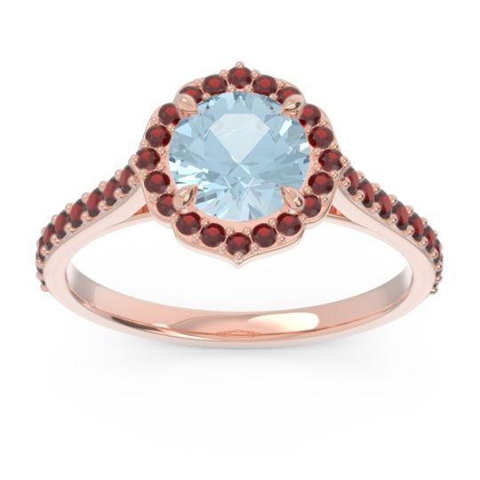 Aquamarine Halo Pave Pulla Ring with Garnet in 14K Rose Gold