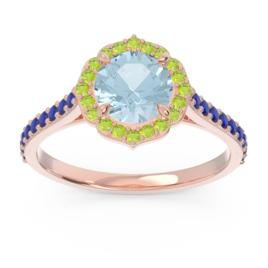 Aquamarine Halo Pave Pulla Ring with Peridot and Blue Sapphire in 18K Rose Gold