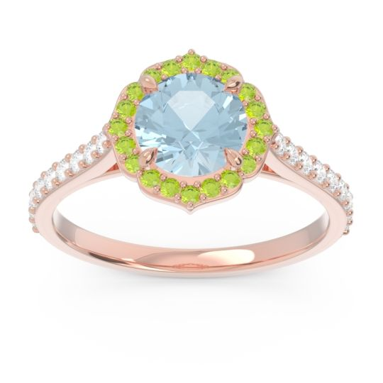Aquamarine Halo Pave Pulla Ring with Peridot and Diamond in 18K Rose Gold