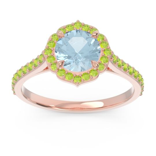 Aquamarine Halo Pave Pulla Ring with Peridot in 18K Rose Gold