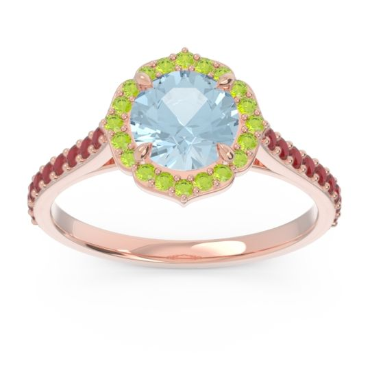 Aquamarine Halo Pave Pulla Ring with Peridot and Ruby in 18K Rose Gold