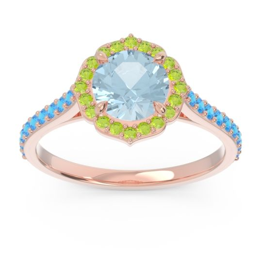 Aquamarine Halo Pave Pulla Ring with Peridot and Swiss Blue Topaz in 14K Rose Gold
