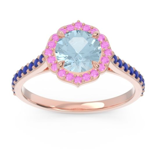 Aquamarine Halo Pave Pulla Ring with Pink Tourmaline and Blue Sapphire in 18K Rose Gold