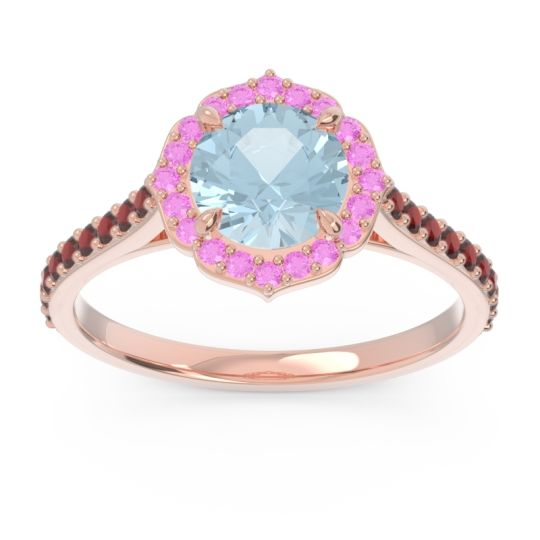 Aquamarine Halo Pave Pulla Ring with Pink Tourmaline and Garnet in 14K Rose Gold