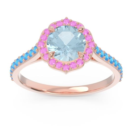 Aquamarine Halo Pave Pulla Ring with Pink Tourmaline and Swiss Blue Topaz in 18K Rose Gold