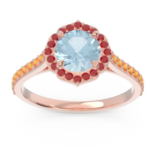 Aquamarine Halo Pave Pulla Ring with Ruby and Citrine in 18K Rose Gold