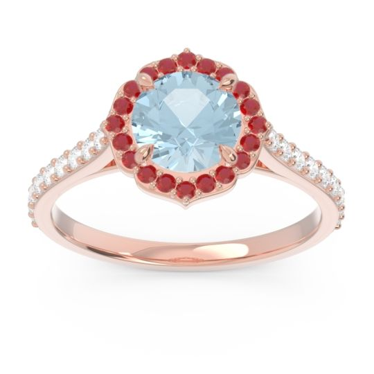 Aquamarine Halo Pave Pulla Ring with Ruby and Diamond in 14K Rose Gold