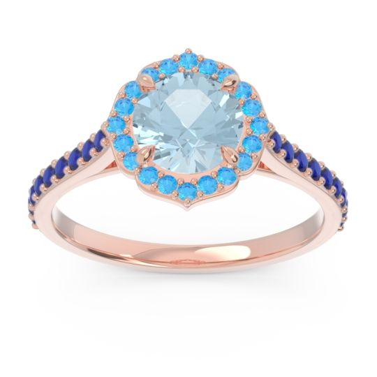 Aquamarine Halo Pave Pulla Ring with Swiss Blue Topaz and Blue Sapphire in 14K Rose Gold