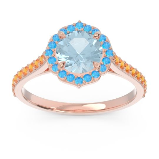 Aquamarine Halo Pave Pulla Ring with Swiss Blue Topaz and Citrine in 14K Rose Gold