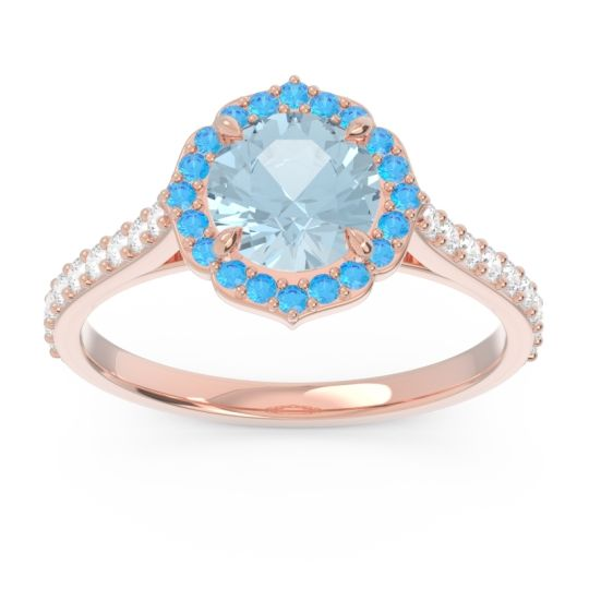 Aquamarine Halo Pave Pulla Ring with Swiss Blue Topaz and Diamond in 14K Rose Gold