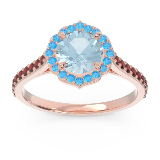 Aquamarine Halo Pave Pulla Ring with Swiss Blue Topaz and Garnet in 18K Rose Gold