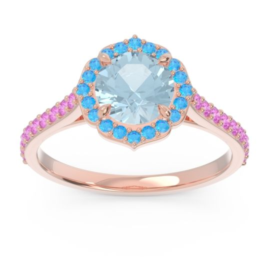Aquamarine Halo Pave Pulla Ring with Swiss Blue Topaz and Pink Tourmaline in 18K Rose Gold