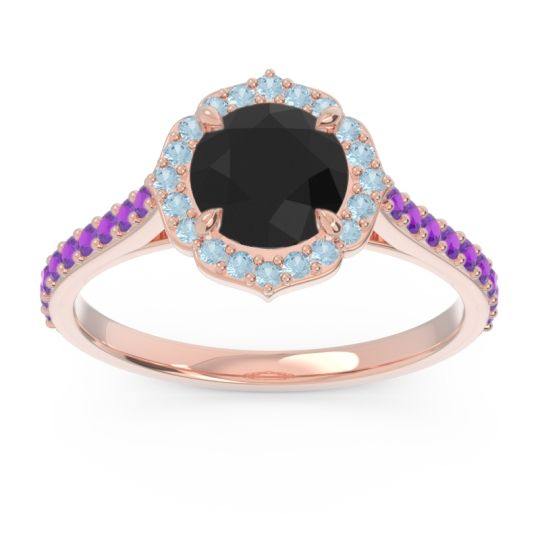 Black Onyx Halo Pave Pulla Ring with Aquamarine and Amethyst in 18K Rose Gold